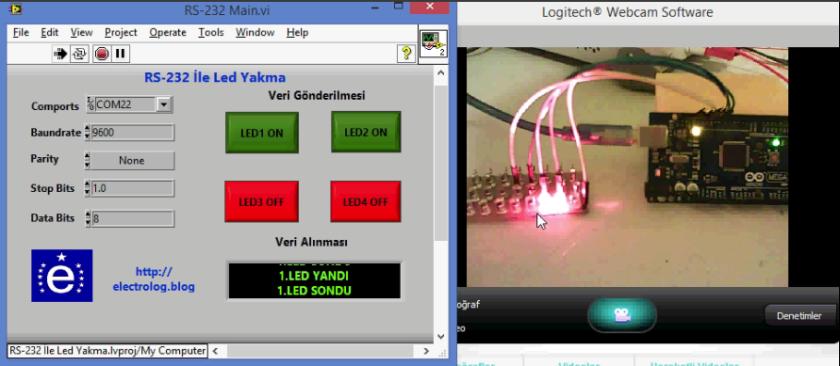 Rs-232 ile Labview ve Arduino MEGA 2560 Kullanılarak LED